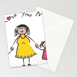 WE LOVE YOU MOM light skin tone family greeting Stationery Cards
