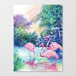 Three Flamingos Canvas Print