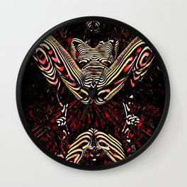 8755-KMA Submissive Woman on Mirror Presents Her Naked Body Zebra Striped Abstract Wall Clock
