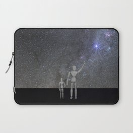 Wooden Anatomy Doll Father Shows Child the Milky Way Galaxy Laptop Sleeve