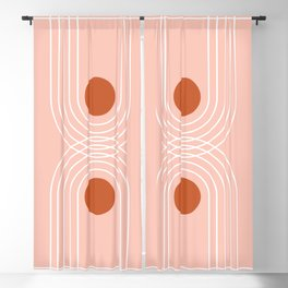 Mid Century Modern Geometric 55 in Terracotta Rose Gold Blackout Curtain