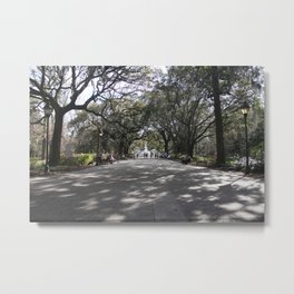 Speckled park light Metal Print