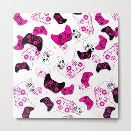 Video Game White & Pink Metal Print