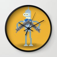 bender Wall Clocks featuring Pixel Bender by Paul Scott (Dracula is Still a Threat)