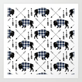 Blue Buffalo Plaid Art Print
