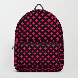 Small Hot Neon Pink Crosses on Black Backpack