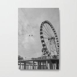 Like a ferris on the wheel - Pier Scheveningen The Hague Netherlands Photo | Black and white noir monochrome adventure beach ferriswheel street urban photography art print Metal Print