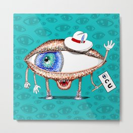 Pointillism Eye Guy Metal Print