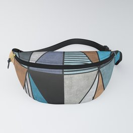 Colorful Concrete Triangles - Blue, Grey, Brown Fanny Pack
