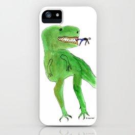 Dinosaur and Tiny Man iPhone Case