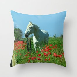 white horse and red poppies: South of France Throw Pillow