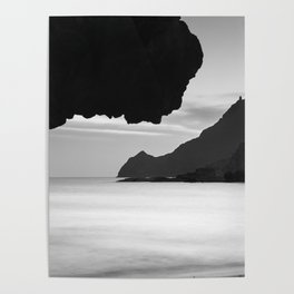 Half Moon Beach. Vela Tower Cliff. Bw Poster