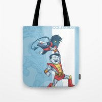 x men Tote Bags featuring X-men classic duo by Alex Santaló