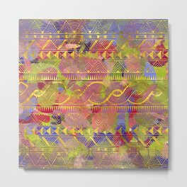 Gold Tribal Pattern on Pastel and Purple painted texture Metal Print