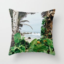 The surfer's spot in Barbados Throw Pillow