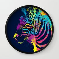 zebra Wall Clocks featuring Zebra Splatters by Olechka
