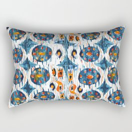 blue circle balinese ikat print mini Rectangular Pillow