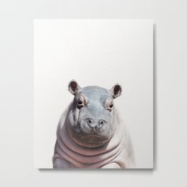 Baby Hippo, Baby Animals Art Print By Synplus Metal Print