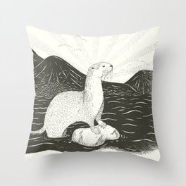 Smooth Coated River Otter Throw Pillow