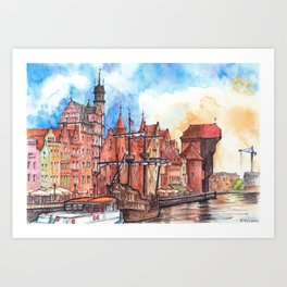 Gdansk watercolor illustration Art Print