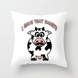 Funny Cartoon Cow Teat Smarts Throw Pillow
