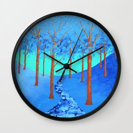 Twilight Woods by Mike Kraus - art trees forests nature paths blue teal hikes hiking mother's day Wall Clock
