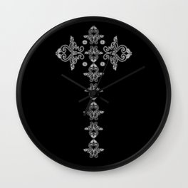 'Faith' - Cross of Lace in black and white Wall Clock