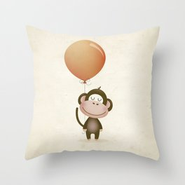 Monkey Print Throw Pillow