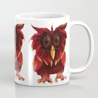 transparent Mugs featuring Hoot Transparent by Megan Coyne