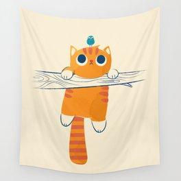 Fat cat, little bird Wall Tapestry