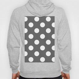 Large Polka Dots - White on Dark Gray Hoody