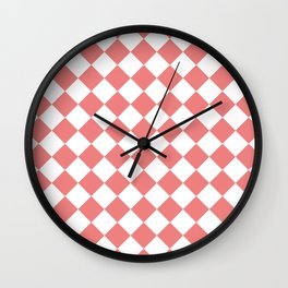 Diamonds - White and Coral Pink Wall Clock