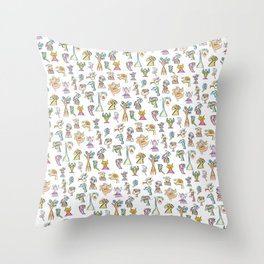 Scribbehead_Montage of Characters Throw Pillow