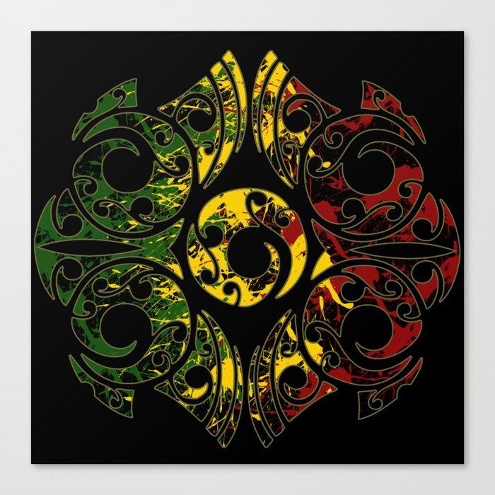 Rasta Colors On Maori Patterns Canvas Print