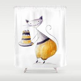 Greedy Cat Shower Curtain