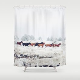 Winter Horse Herd Shower Curtain