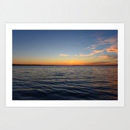 Twilight blue sky over the waves Art Print