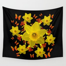 Decorative Black Design Butterflies Yellow Daffodils Wall Tapestry