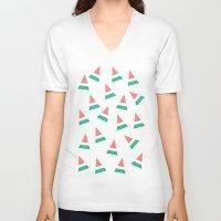 watermelon V-neck T-shirts featuring Watermelon by Menina Lisboa