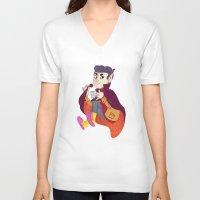 vampire V-neck T-shirts featuring Vampire by Chicherova Olga