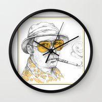 fear and loathing Wall Clocks featuring Fear and Loathing in Las Vegas by Michelle Eatough