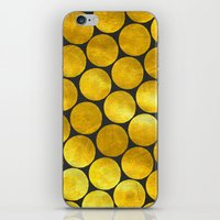 gold dots iPhone & iPod Skins featuring Gold Polka Dots by Juste Pixx Designs