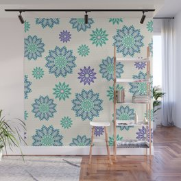 Green and purple lace mandala flowers pattern Wall Mural