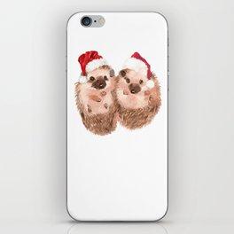 Christmas Twin Hedgehog iPhone Skin