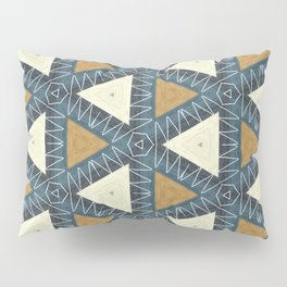 geo beige and brown triangles on blue Pillow Sham