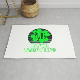 Pubs The Official Sunblock of Ireland Funny St Patricks Day Rug