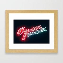 Open 24h Neon Sign Framed Art Print