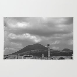 Mount Vesuvius Volcano Overlooking Pompeii Rug