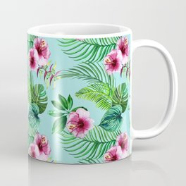 watercolor print of tropical leaves and flowers Coffee Mug