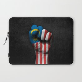 Malaysian Flag on a Raised Clenched Fist Laptop Sleeve